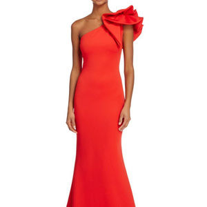 Red On Shoulder Gown Stunning